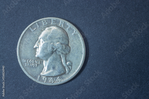 Poster A quarter american dollar 1944 USA head coin, vintage antique old, difficult and rare to find
