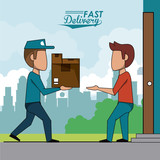 poster scene city landscape of fast delivery man with packages to customer vector illustration