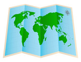 four fold world map paper on a white background