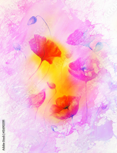 poppy flower on abstract color background. Marble effect on the edges.