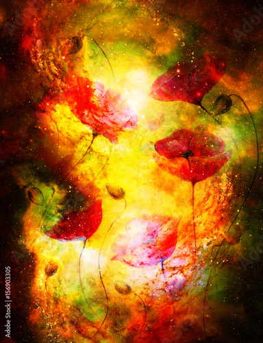 Cosmic space with flower, color galaxy background, computer collage. Fire effect.
