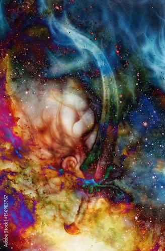 Keuken foto achterwand Vlinders in Grunge Ornamental fire sword. Original painting in color cosmic background. Computer collage.