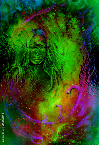 Goddess woman in cosmic background. Painting and graphic design. Glass effect.
