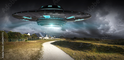Foto op Canvas UFO UFO invasion on planet earth landascape 3D rendering