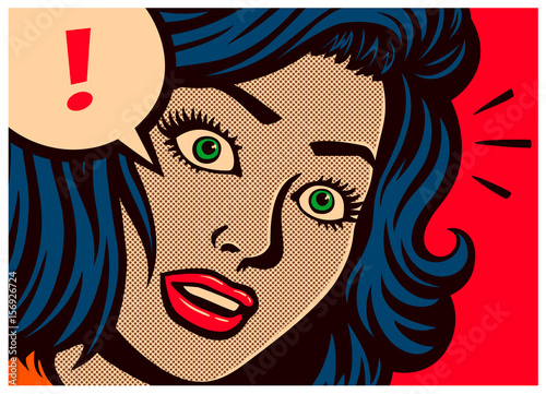 Pop art style comics panel surprised girl with blank expression and speech bubble with exclamation mark poster design vector illustration