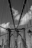 Brooklyn Bridge with American flag in black and white - 156936574