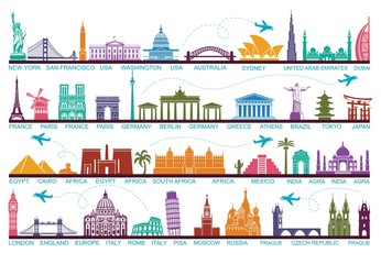 Icons world tourist attractions. The symbols travel around the world. Landmark and attractions