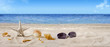 Starfish, seashells, sunglasses on seashore - beach holiday background banner