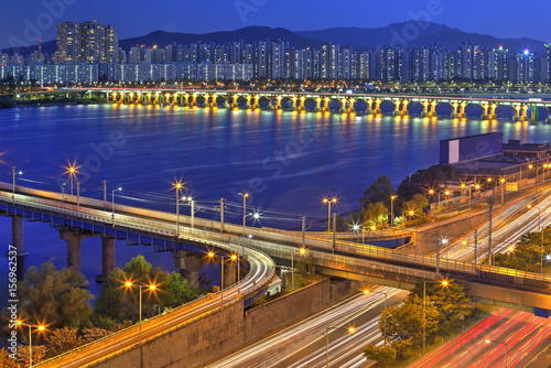 Seoul skyline, Korea Poster