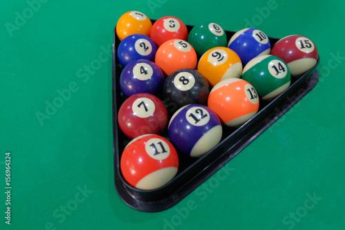 Staande foto Billiard balls pool in triangle on green table, game