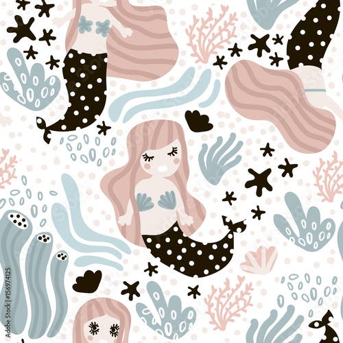 Cotton fabric Seamless childish pattern with cute mermaids,seaweed, starfish. Undersea vector trendy texture.Perfect for fabric,textile,wrapping