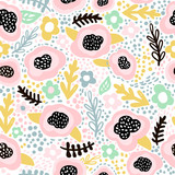 Seamless hand drawn floral pattern in pink, mint,black colors. Great for fabric and textile. Vector Illustration - 156974531