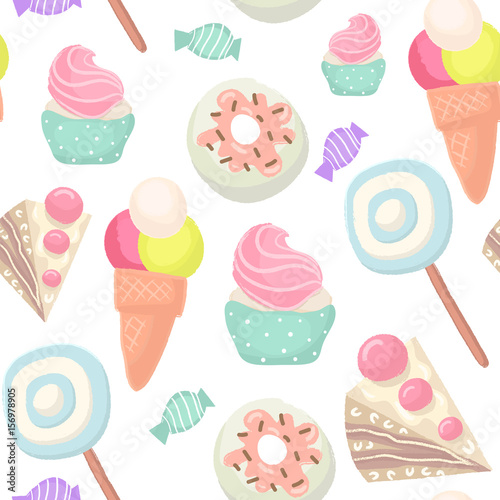 Fototapeta Seamless pattern with cupcake,ice cream,candy,donut. Great for fabric,textile,wrapping