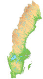 High detailed Sweden physical map. - 156980396