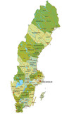 Highly detailed editable political map with separated layers. Sweden. - 156981127