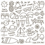 Set of Cute Summer Time Doodle