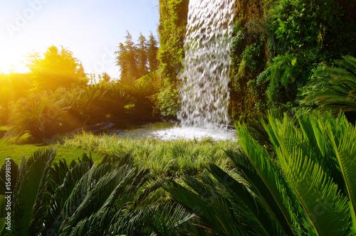 Waterfall on a sun