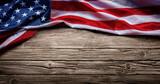 Usa Flag On Vintage Wooden Background