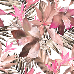 tropical seamless pattern. Exotic leaves, flowers, herbs on white background. pink Watercolor floral background