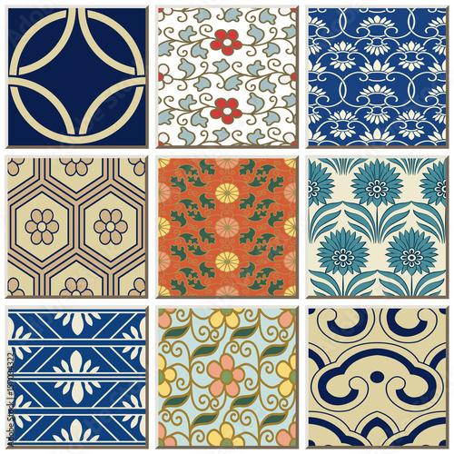 Fototapeta Oriental antique retro ceramic tile pattern combo collection set