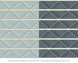 Retro Seamless Pattern 2 Color Set Curve Wave Cross Square Check Line