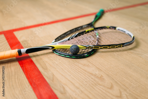 Squash game equipment closeup view
