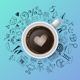 Creativity concept with realistic coffee cup and hand drawing icons. Flat lay style