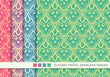 Seamless pastel background set Chinese curve spiral cross scale chintz