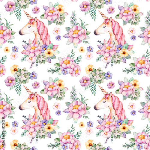 Lovely Seamless pattern with flowers,peonies,leaves,branches,eucalyptus,succulents,unicorn and more.Perfect for your project,wedding,greeting card,packaging,wallpaper,pattern,texture,cover,Birthday - 157080381