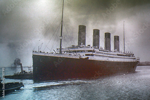 Titanic on an old photo, Belfast, Northern Ireland