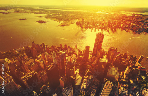 Aerial view of the Freedom Tower at One World Trade Center, Manhattan, NY Poster