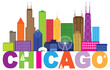 Chicago City Skyline Text Color vector Illustration