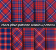 Set  Patriotic Check Plaid Seamless Pattern Background