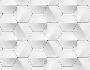 White shaded abstract geometric texture. Origami paper style. Hexagonal elements. 3D rendering background.
