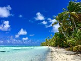 Beautiful turquoise lagoon and white sanded beaches of Marlon Brando's atoll Tetiaroa, Tahiti, French Polynesia