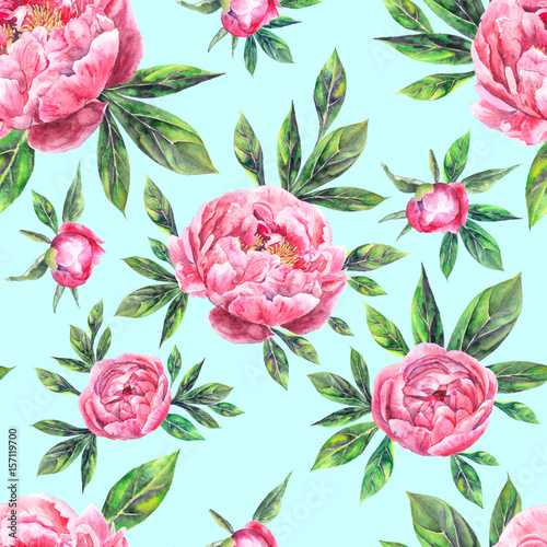 Fototapeta Watercolor hand drawn vintage seamless pattern with peony flowers and leaves
