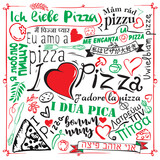 Vintage pizza sign, background, template or pizza box design. I love pizza in different languages