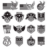 Set of made in usa labels. Emblems with an american flag, eagles. Vector design elements - 157121954