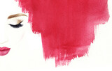 Make up. Woman face and place for text. Fashion illustration. Watercolor painting - 157132388