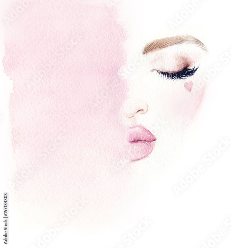 Make up. Woman face and place for text. Fashion illustration. Watercolor painting - 157134303