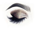 Make up. Woman eye. Fashion illustration. Watercolor painting