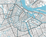 Black and white vector city map of Amsterdam with well organized separated layers. - 157135324