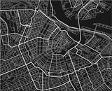 Black and white vector city map of Amsterdam with well organized separated layers. - 157135372