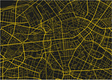 Black and yellow vector city map of Berlin with well organized separated layers. - 157136536