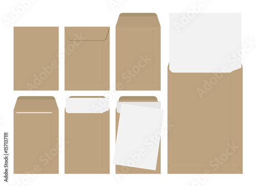 Vector set of blank brown envelopes with paper isolated on white background