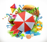 Summer holiday set, 3d vector icon