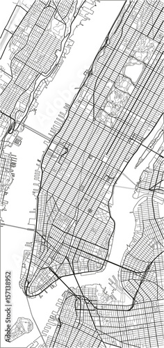 In de dag Art Studio Black and white vector city map of New York with well organized separated layers.