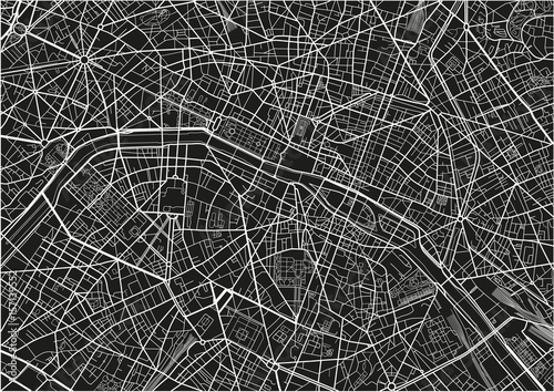 Black and white vector city map of Paris with well organized separated layers. - 157139552