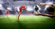 Soccer action on 3d sport arena. mature players fight for the ball.