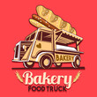 Food truck logotype for bakery bread fast delivery service or bakers food festival. Truck van with advertise ads vector logo